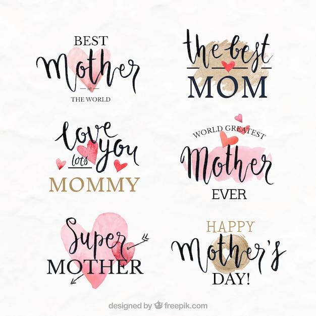 Fantastyczne Etykiety Z Ozdobnymi Sercami Na Dzień Matki Darmowych Wektorów
