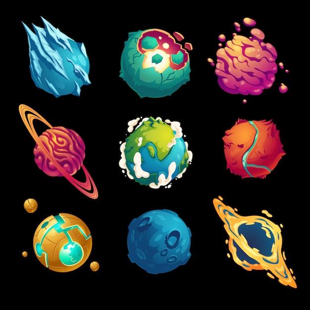 Fantastyczne Planety Asteroidy Z Kreskówkową Galaktyką Darmowych Wektorów
