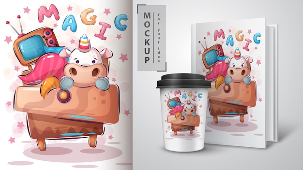 Fantastyczny Plakat Jednorożca I Merchandising Darmowych Wektorów