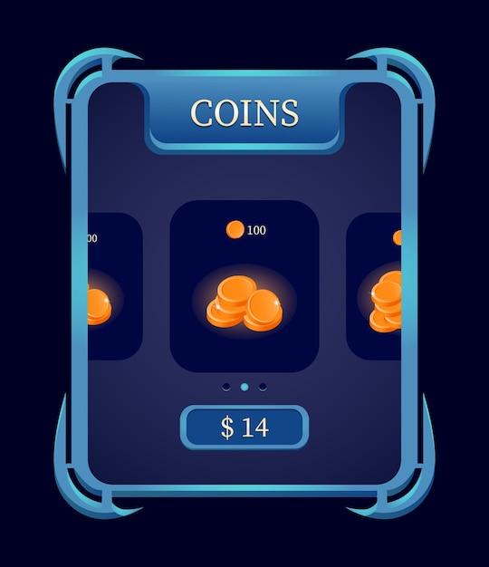 Fantasy Gui Coin Shop Menu Doładowania Dla Elementów Interfejsu Gry Premium Wektorów