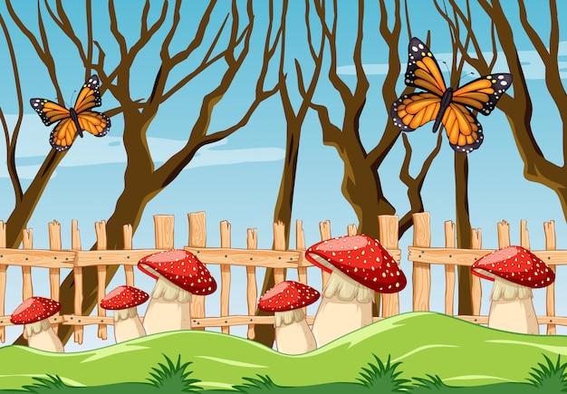 Fantazja Grzybowy Motyl W Ogrodowym Sence Kreskówki Stylu Darmowych Wektorów