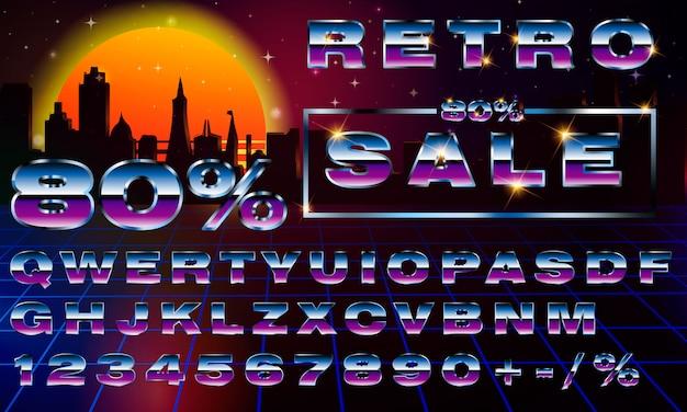 Fantazyjna Retrofuturystyczna Neonowa Czcionka Typografii. Synthwave Vaporwave Style. Premium Wektorów