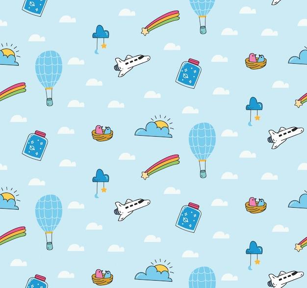 Fantazyjny wzór z balonem i promem kosmicznym Premium Wektorów