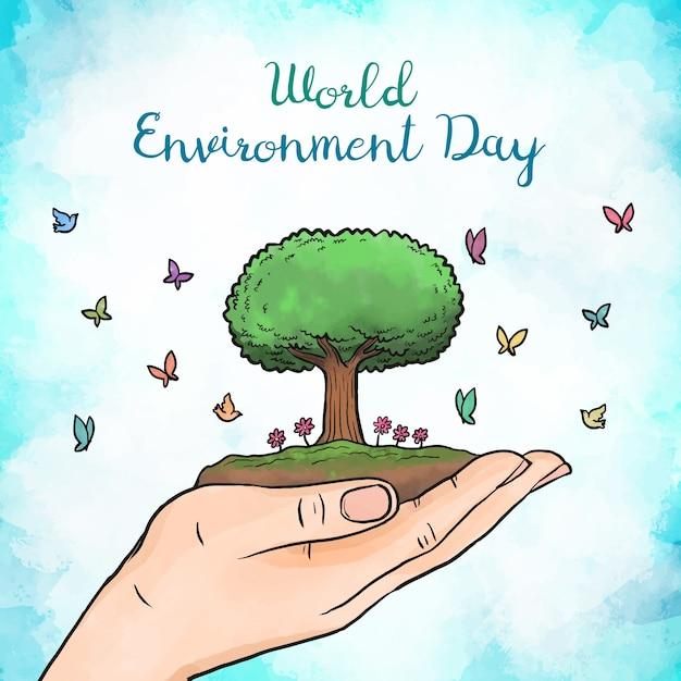 Farba Akwarela światowy Dzień środowiska Darmowych Wektorów