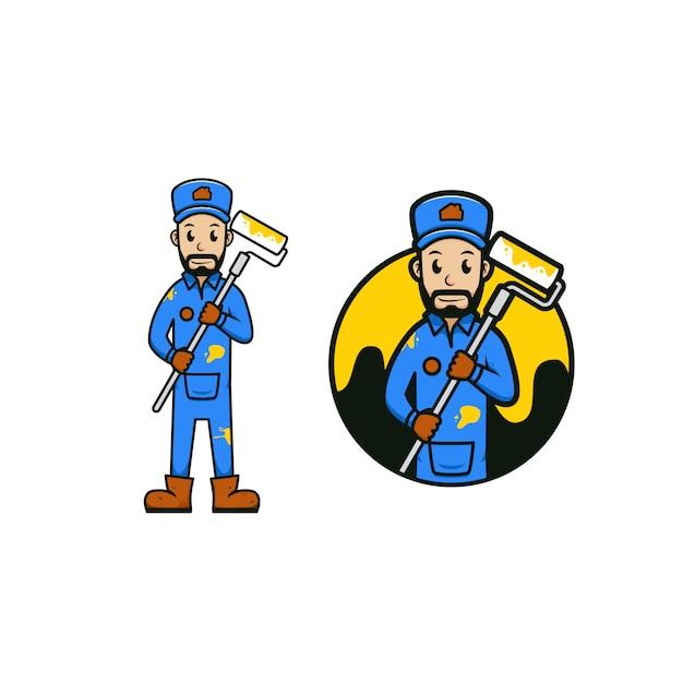 Farba I Naprawa Robotnik Maskotka Kreskówka Ikona Ilustracja Logo Premium Wektorów