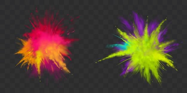 Farby proszkowe holi zestaw na białym tle, barwnik na festiwal Darmowych Wektorów