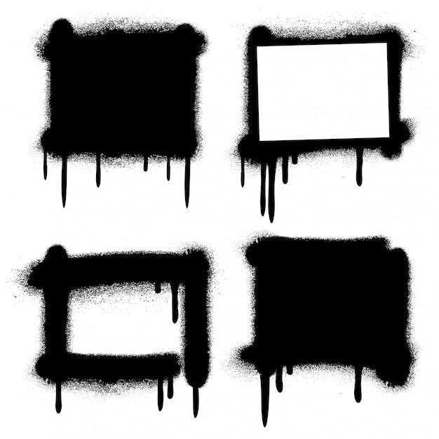 Farby W Sprayu Graffiti Grunge Ramki Premium Wektorów
