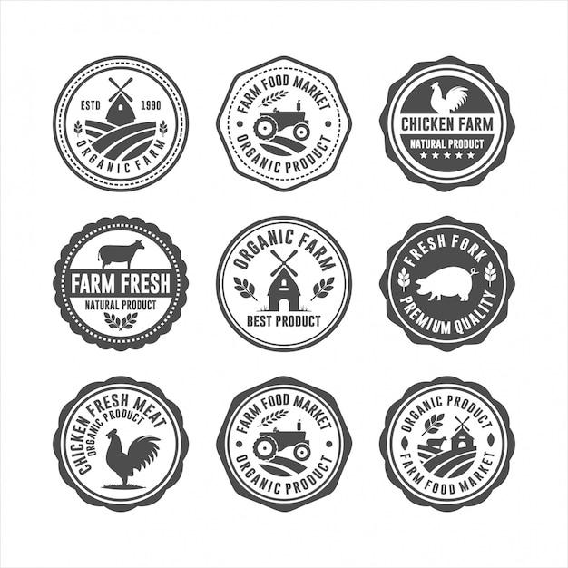 Farm Fresh Badge Stamps Logos Premium Wektorów