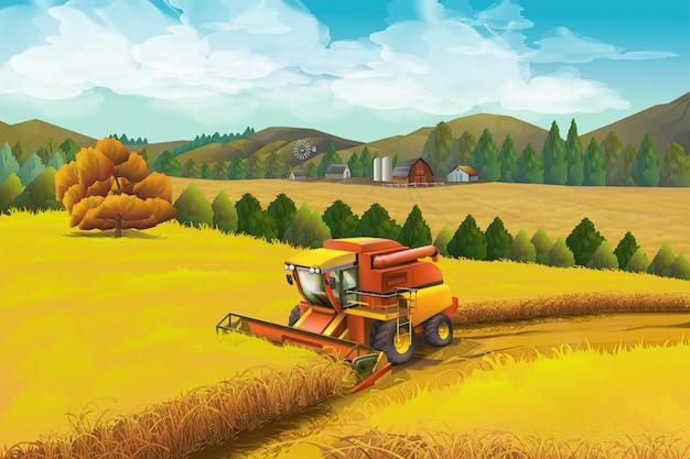 Farma, Tło. Krajobraz Wiejski Premium Wektorów