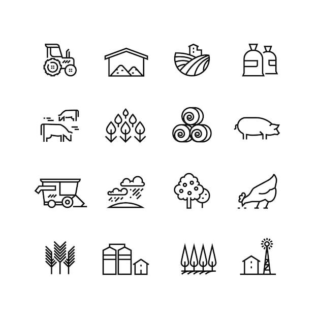 Farma Zbiorów Liniowe Wektorowe Ikony. Piktogramy Agronomiczne I Rolnicze. Symbole Rolnicze Premium Wektorów