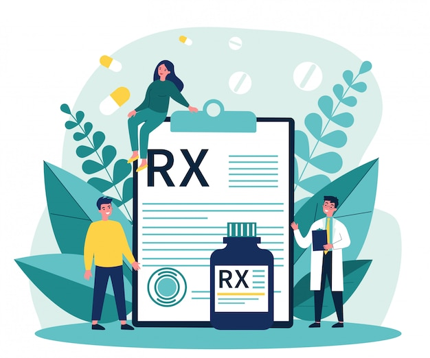 Farmaceuta I Pacjenci Przedstawiający Receptę Rx Premium Wektorów
