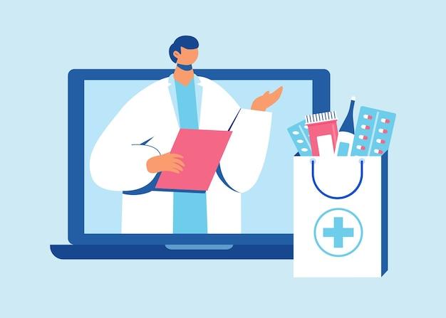 Farmaceuta Pomaga Zebrać Zamówienie Na Stronie Premium Wektorów