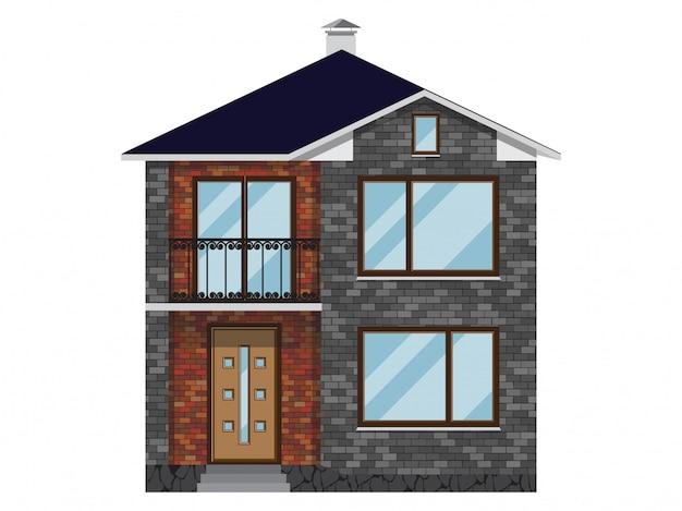 Fasada domu z cegły z balkonem. Premium Wektorów