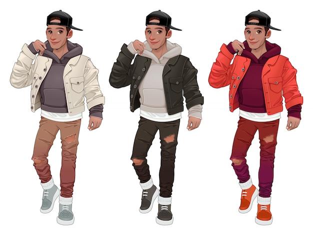 Fashion Boy W Trzech Różnych Wersjach Darmowych Wektorów