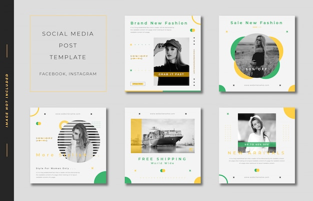 Fashion_instagram_post_template_square_banner_collection_green_and_yellow Premium Wektorów
