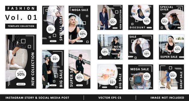 Fashion instagram story i kolekcja szablonów postów w mediach społecznościowych Premium Wektorów