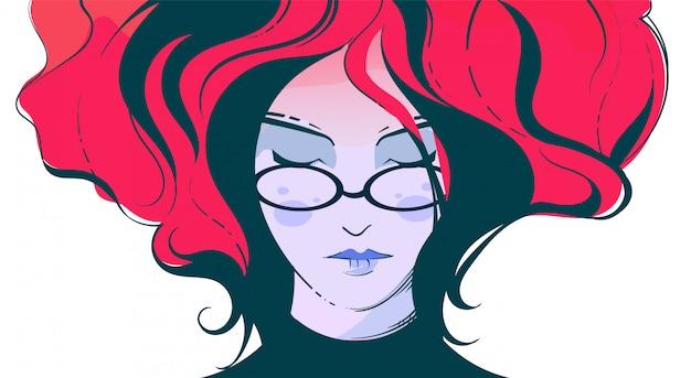 Fasonuje Ilustrację Dziewczyna Z Szkłami Z Kłębiącym Się Czerwonym Włosy Premium Wektorów