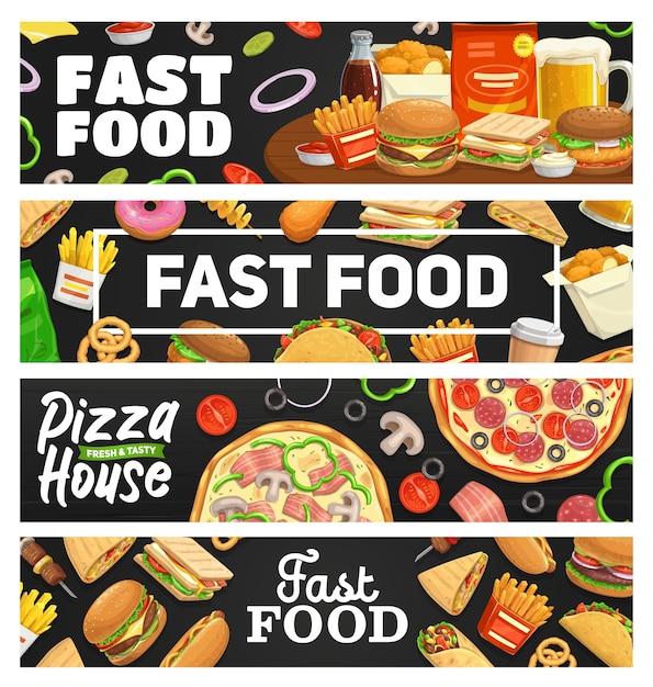 Fast Food, Banery Z Posiłkami Na Wynos, Burger, Hot Dog, Pizza I Kanapka, Napój Gazowany, Frytki I Tacos. Fastfood Bistro Na Wynos, Fast Food Cheeseburger, Hamburger, Nuggets Cafe Menu Premium Wektorów
