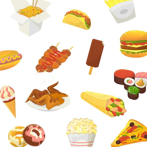 Fast food. hamburger, pizza, pieczony kurczak i kukurydza pop z sushi i lodami na białym tle Premium Wektorów