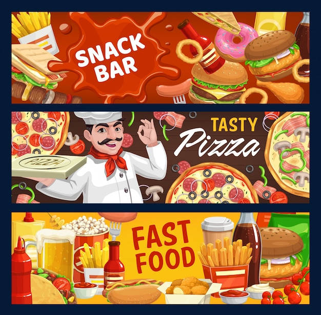 Fast Food I Banery Kreskówka Wektor Bar Przekąskowy Premium Wektorów
