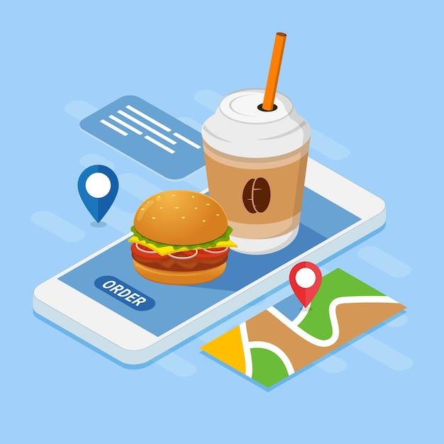 Fast Food I Napój Ilustracja Projektu Zamówienia Online Premium Wektorów