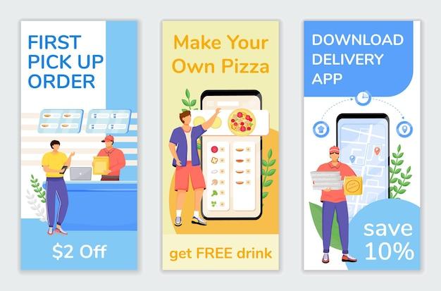Fast Food Oferty Specjalne Ulotki Zestaw Szablonów Płaskich. Pierwszy Projekt Ulotki Do Wydrukowania Ze Zniżką Dla Klientów. Dostawa Ekonomiczna Reklama Internetowa Pionowy Baner, Historie Z Mediów Społecznościowych Premium Wektorów