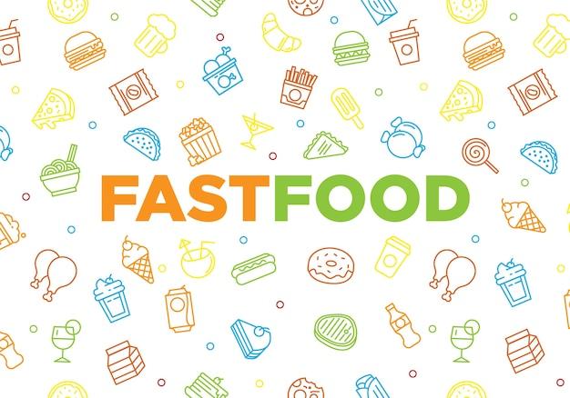 Fast Food Tła Tekstura Z Doodle Kreskówki Pojęciem Premium Wektorów