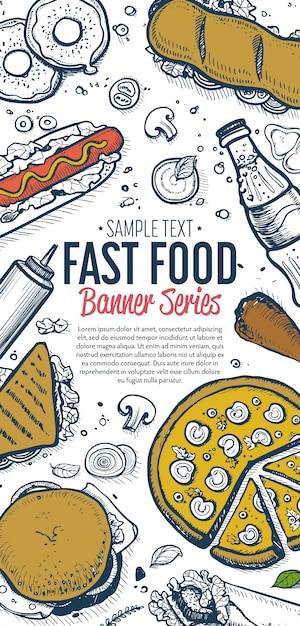 Fast foody menu pionowy baner Premium Wektorów