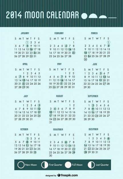 Fazy księżyca Kalendarz 2014 Darmowych Wektorów