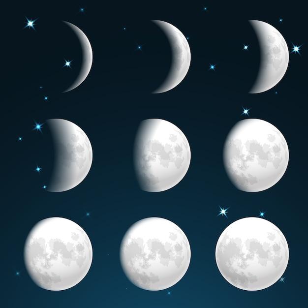 Fazy Księżyca Na Gwiaździstym Niebie Darmowych Wektorów