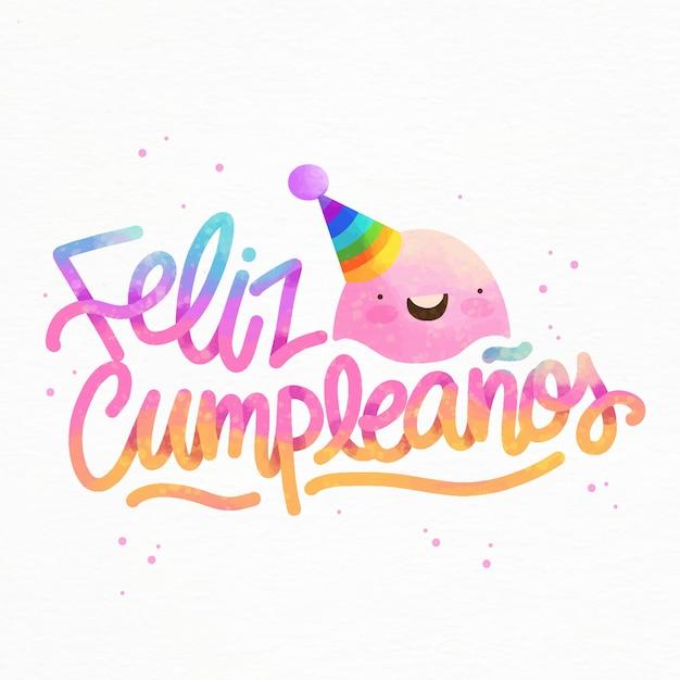 Feliz Cumpleaños Napis W Czapce Imprezowej Darmowych Wektorów