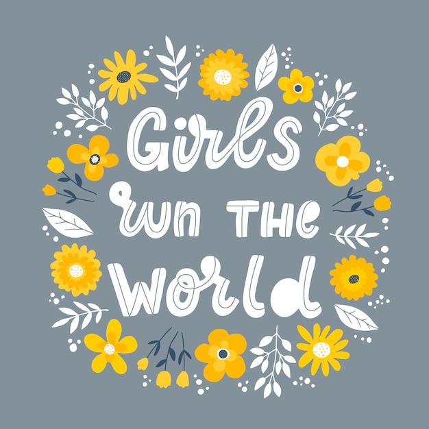 """Feministyczny Cytat Z Napisem """"girls Run The World"""" Premium Wektorów"""