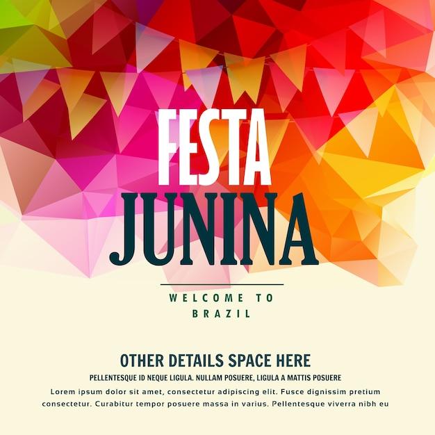 Festa junina brazylijski festiwalu june kolorowe tło Darmowych Wektorów