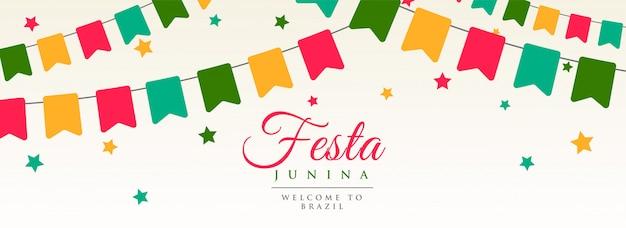 Festa junina flagi wianek dekoracji banner Darmowych Wektorów
