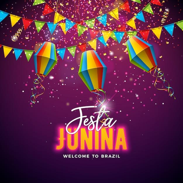 Festa Junina Ilustracja Z Flagami I Papierowym Lampionem Premium Wektorów