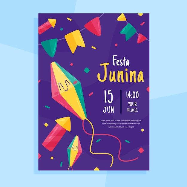 Festa Junina Plakat Szablon Projektu Darmowych Wektorów