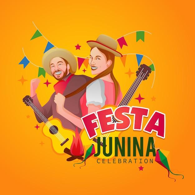 Festa junina powitanie design Premium Wektorów