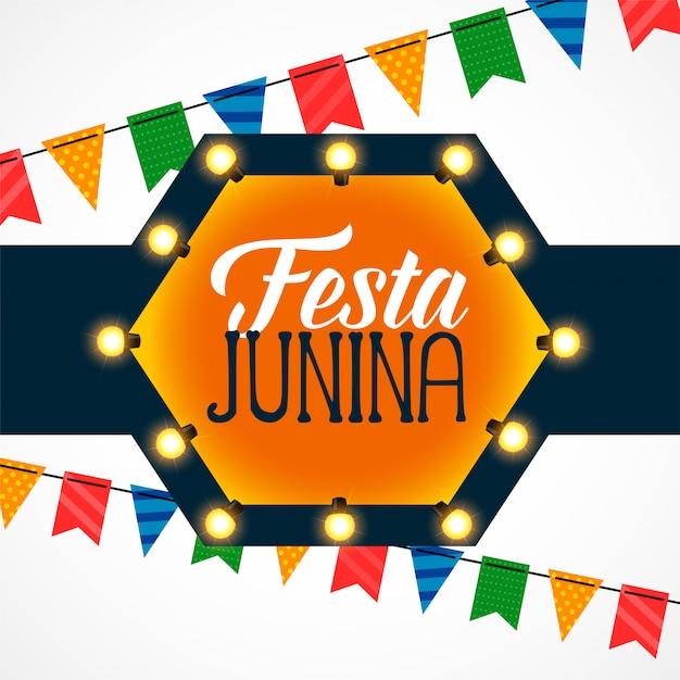 Festa junina uroczystości dekoracji żarówki Darmowych Wektorów
