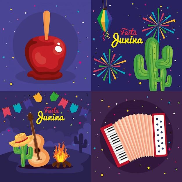 Festa Junina Zestaw Kart, Festiwal Brazylia Czerwca Z Ilustracją Dekoracji Premium Wektorów