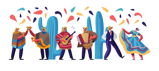Festiwal Cinco De Mayo Z Meksykanami W Kolorowych Tradycyjnych Strojach, Muzykami Z Gitarą, Płaska Ilustracja Kreskówka Premium Wektorów
