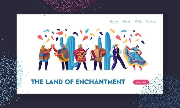 Festiwal Cinco De Mayo Z Meksykanami W Tradycyjnych Strojach, Muzykami I Tancerzami Z Okazji Narodowego święta Muzyki. Strona Docelowa Witryny, Premium Wektorów