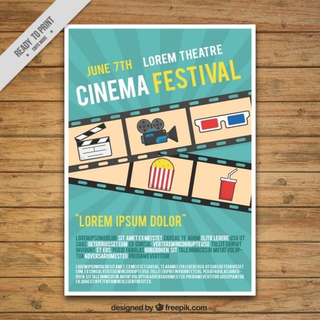 Festiwal Filmowy Plakat Z Ramą I Elementami Wektor Darmowe