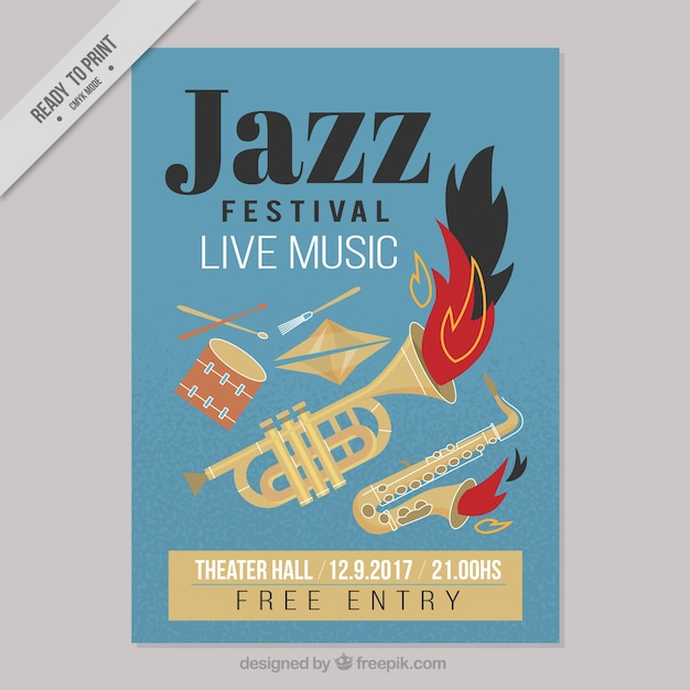 Festiwal Jazz Plakat Z Instrumentami Muzycznymi Wektor