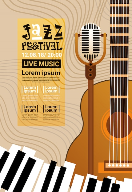 Festiwal Jazzowy Koncert Muzyki Na żywo Plakat Reklama Retro Banner Premium Wektorów