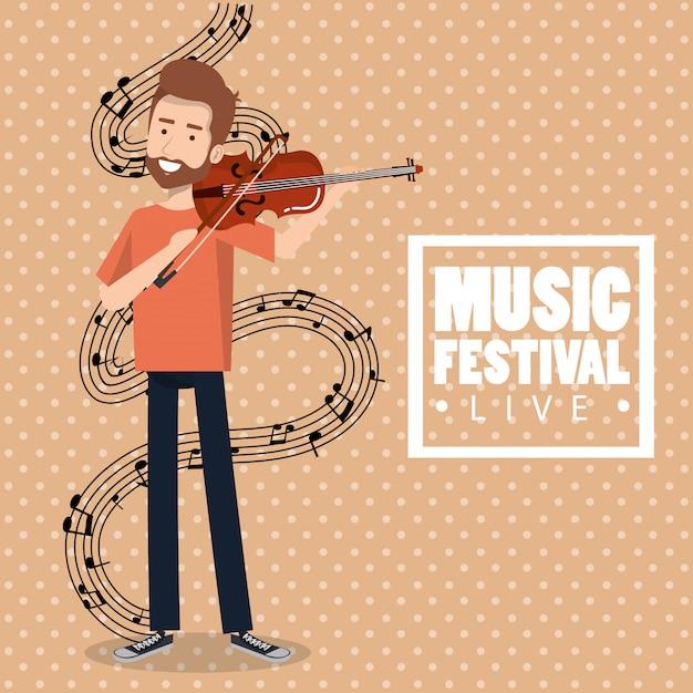 Festiwal Muzyczny Na żywo Z Człowiekiem Grającym Na Skrzypcach Darmowych Wektorów