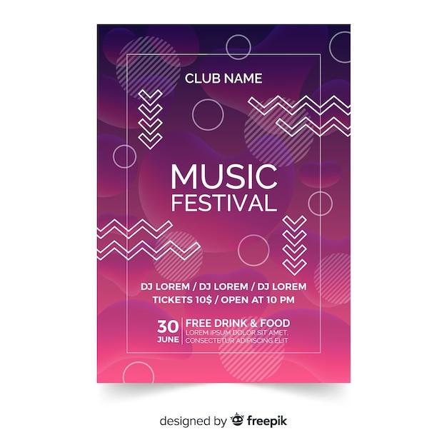 Festiwal muzyczny plakat lub ulotki szablon na abstrakcjonistycznym nowożytnym projekcie Darmowych Wektorów