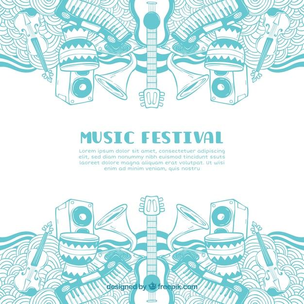 Festiwal muzyczny tło z różnymi instrumentami Darmowych Wektorów