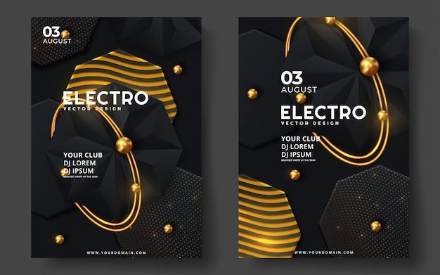 Festiwal Muzyki Elektronicznej. Nowoczesny Projekt Szablonu Plakatu Lub Ulotki. Premium Wektorów
