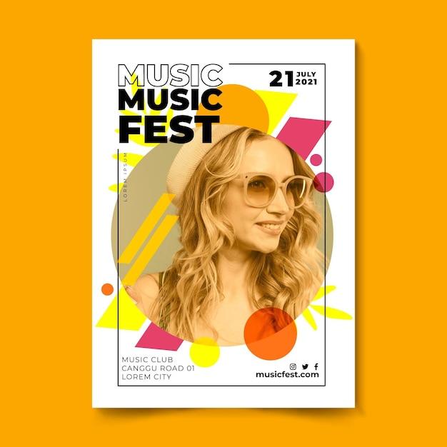 Festiwal Muzyki Plakat Kobieta O Blond Włosach Darmowych Wektorów