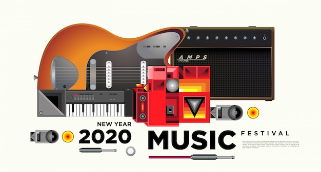 Festiwal muzyki poziomy plakat szablon projektu Premium Wektorów